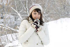 Cute girl walking in winter Stock Photos