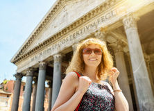 Cute girl walks past the Pantheon in Rome Royalty Free Stock Images
