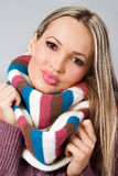 Cute girl in warm scarf Stock Photo