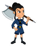 Cute girl warrior cartoon royalty free illustration