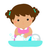 Cute girl washing hands . Royalty Free Stock Photo