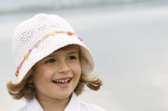Cute girl on the water Royalty Free Stock Image