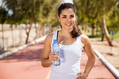 Cute girl with a water bottle Stock Photo