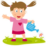 Cute Girl with Watering Can Royalty Free Stock Images