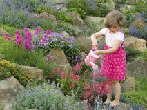 Cute girl watering flower in the garden Royalty Free Stock Images