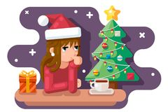 Cute girl wating for new year chrismas tree santa claus hat gift box flat design vector illustration. Cute girl wating new year chrismas tree santa claus hat Royalty Free Stock Images