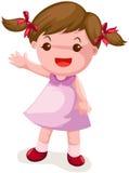 Cute girl waving hand stock illustration