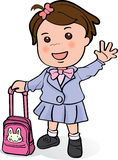Cute girl waving hand to her parents. Cute girl with pink pack going to school and waving hand to her parents Stock Image