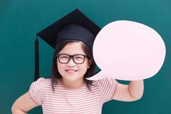 Cute girl with green chalkboard Royalty Free Stock Images