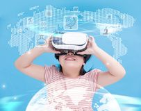 Girl wear vr learning science Stock Photo