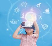 Girl wear vr learning science Stock Images