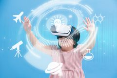 Girl wear vr learning science Stock Photos