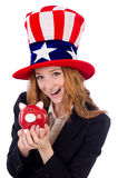 Cute girl wearing american symbol hat isolated on Royalty Free Stock Photo