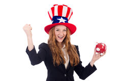 Cute girl wearing american symbol hat isolated on Stock Photo