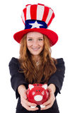 Cute girl wearing american symbol hat isolated on Stock Image