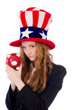 Cute girl wearing american symbol hat isolated on Stock Photos