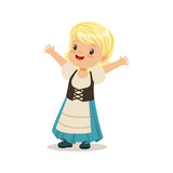 Cute girl wearing blue skirt and corset, national costume of Germany colorful character vector Illustration. On a white background Royalty Free Stock Photos