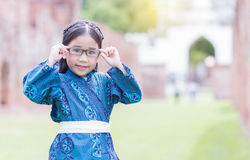 Cute girl wearing Costumes Japan. Cute girl wearing  National Costumes of japan in park Stock Images