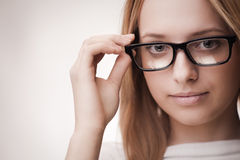 Cute girl wearing glasses Royalty Free Stock Photo
