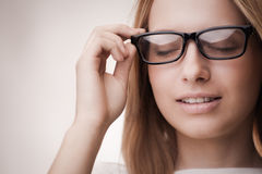 Cute girl wearing glasses Royalty Free Stock Photos