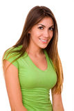 Cute Girl Wearing Green Tshirt. Casual and Cute Girl With Long Hair Wearing Green T-shirt Isolated on White Background Stock Images