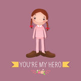 Cute girl wearing in her fathers shoes stock illustration