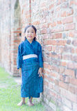 Cute girl wearing National Costumes of japan stock images