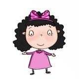 Cute girl wearing pink dress royalty free illustration
