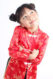 Cute girl wearing red Chinese suit Royalty Free Stock Photos