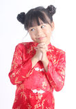 Cute girl wearing red Chinese suit Royalty Free Stock Images