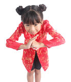 Cute girl wearing red Chinese suit Stock Image