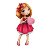 Cute girl wearing red dress holding pink heart. Valentine's day cartoon character isolated on white background Stock Images