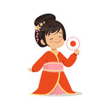 Cute girl wearing red kimono, national costume of Japan colorful character vector Illustration Royalty Free Stock Image