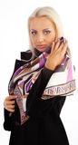 Cute girl wearing silk scarf Stock Photo