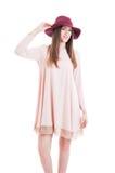 Cute girl wearing summer dress, trendy hat and black heels royalty free stock photos