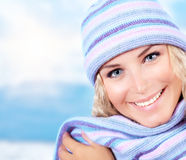 Cute girl wearing warm beanie Stock Photography