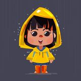 Cute girl wearing yellow raincoats and boots under the rain. character design Royalty Free Stock Images