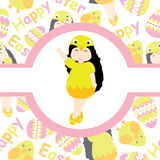 Cute girl wears chick custom on pink circle frame vector cartoon for Easter postcard, wallpaper, greeting card Royalty Free Stock Photo