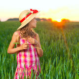 Cute girl on wheat. Royalty Free Stock Photos