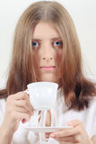 Cute girl with white mug Royalty Free Stock Images