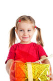 Cute girl wih the gift Royalty Free Stock Photos