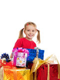 Cute girl wih the gifts Royalty Free Stock Image
