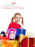 Cute girl wih the gifts Stock Photography