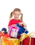 Cute girl wih the presents Stock Photo
