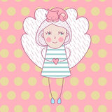 Cute girl with wings and with cat on her head. Vector illustration love card with angel and cat. Royalty Free Stock Images