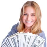 Cute girl winning money Stock Photos