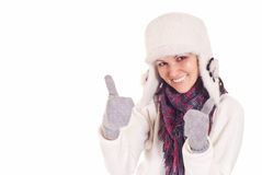 Cute girl in winter clothes Stock Images