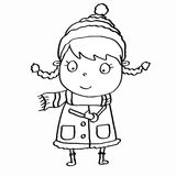 Cute girl and winter clothes and snowing and coloring. And white background Stock Photo