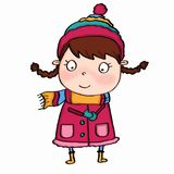 Cute girl and winter clothes and snowing. And white background Royalty Free Stock Photos