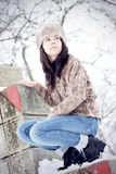 Cute girl on a winter day Stock Photos